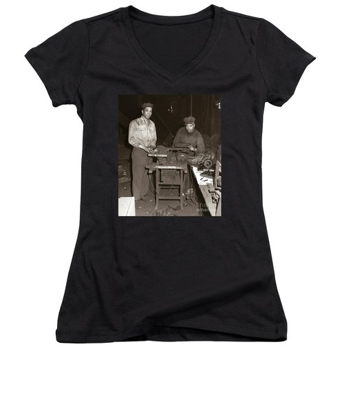 Anthracite Coal Artist  Charles Edgar Patience On Right  1906-1972 In Studio 1953    Women's V-Neck (Athletic Fit)