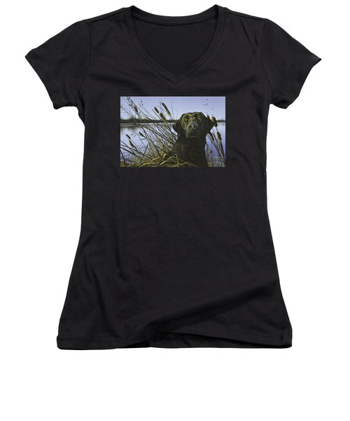 Anticipation - Black Lab Women's V-Neck