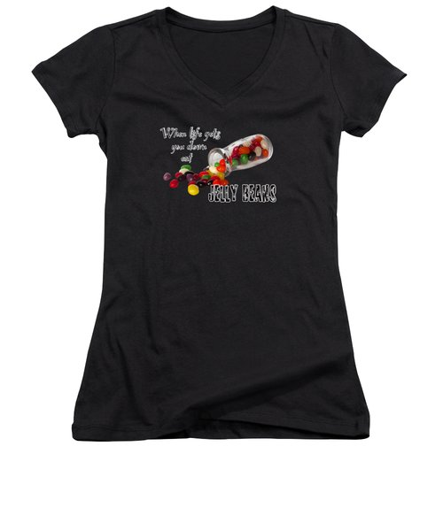 Antique Bottle And Jelly Beans Women's V-Neck T-Shirt (Junior Cut) by Phyllis Denton