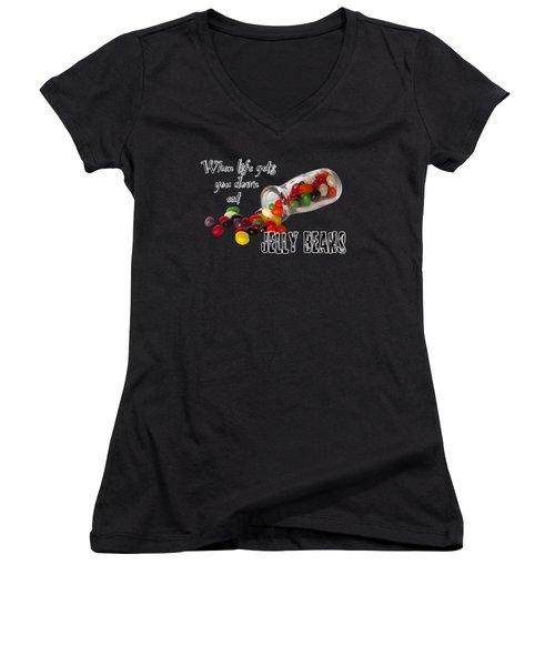 Antique Bottle And Jelly Beans Women's V-Neck T-Shirt