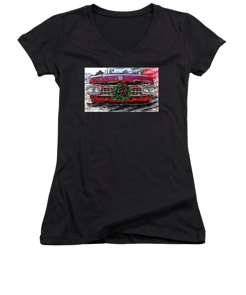 Antique Ford Christmas Women's V-Neck (Athletic Fit)