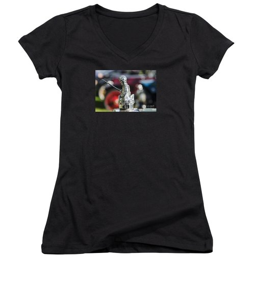Women's V-Neck T-Shirt (Junior Cut) featuring the photograph Antique Radiator Cap by JRP Photography