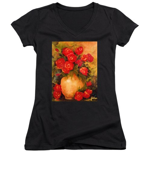 Antique Red Roses Women's V-Neck (Athletic Fit)