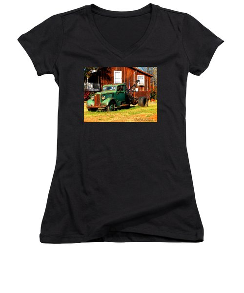 Antique Tow Truck Women's V-Neck (Athletic Fit)