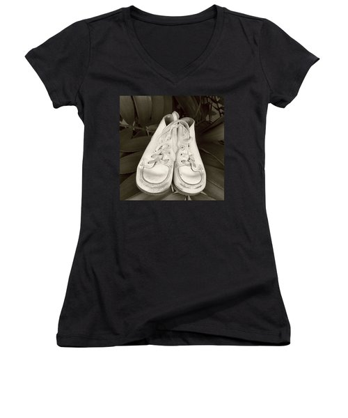 Antiqued Baby Shoes Women's V-Neck T-Shirt