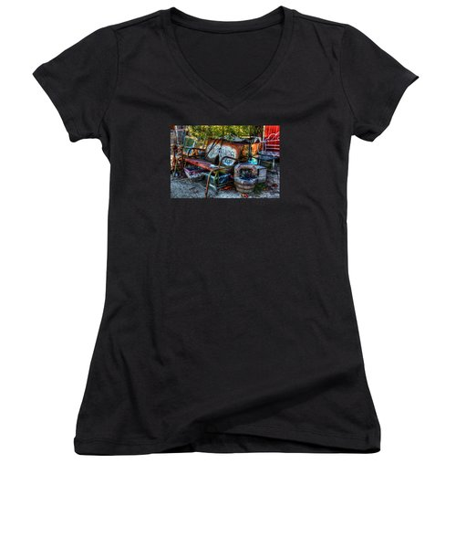 Antiques Shop Women's V-Neck (Athletic Fit)