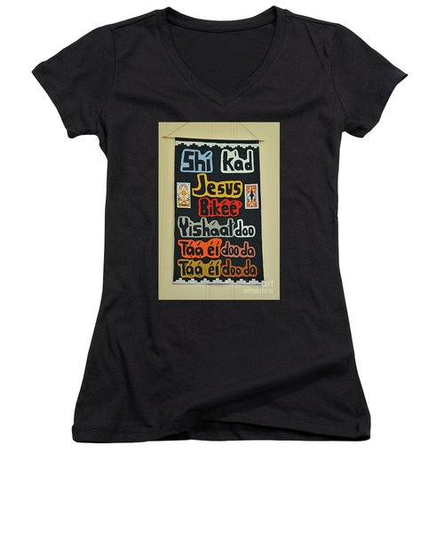 Women's V-Neck T-Shirt (Junior Cut) featuring the photograph Any Language by Debby Pueschel