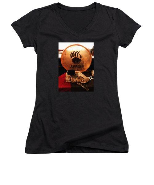 Apache Drum Women's V-Neck T-Shirt (Junior Cut) by Ayasha Loya