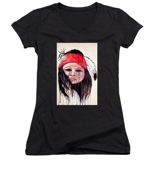 Watercolor Painting Of Apache Tears By Ayasha Loya Women's V-Neck T-Shirt (Junior Cut) by Ayasha Loya