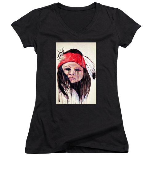 Watercolor Painting Of Apache Tears By Ayasha Loya Women's V-Neck (Athletic Fit)