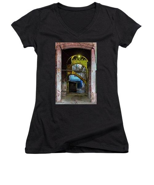 Women's V-Neck T-Shirt (Junior Cut) featuring the photograph Apartment Enrance Havana Cuba Near Calle C by Charles Harden