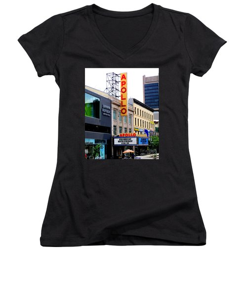Apollo Theater Women's V-Neck T-Shirt (Junior Cut) by Randall Weidner