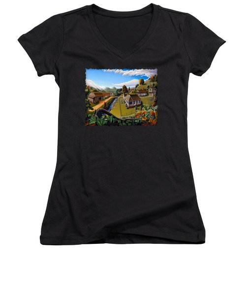 Appalachia Summer Farming Landscape - Appalachian Country Farm Life Scene - Rural Americana Women's V-Neck T-Shirt