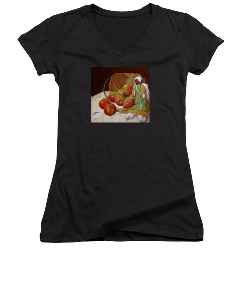 Apple Annie Women's V-Neck T-Shirt (Junior Cut) by Donelli  DiMaria