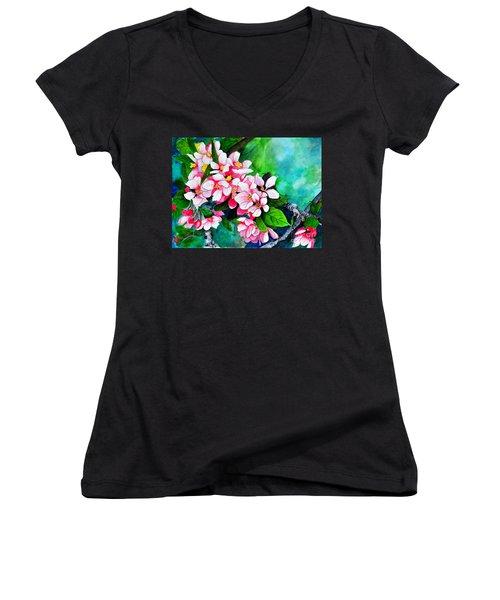 Apple Blossoms Women's V-Neck T-Shirt