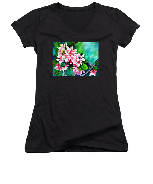 Apple Blossoms Women's V-Neck (Athletic Fit)