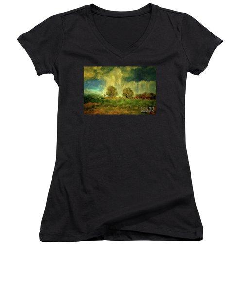 Women's V-Neck T-Shirt (Junior Cut) featuring the digital art Approaching Storm At Antietam by Lois Bryan