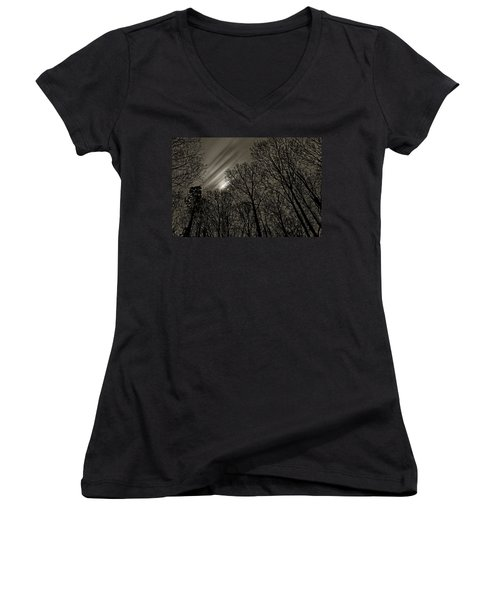 Approaching Storm, Black And White Women's V-Neck (Athletic Fit)