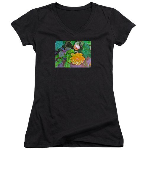 Apricot Begonia 3 Women's V-Neck T-Shirt (Junior Cut) by Janis Nussbaum Senungetuk