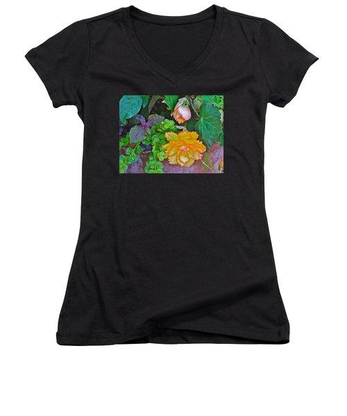 Apricot Begonia 3 Women's V-Neck
