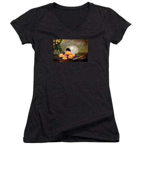 Apricots Women's V-Neck T-Shirt (Junior Cut) by Diana Angstadt