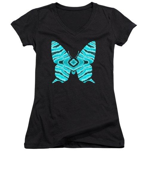 Aqua Blue Butterfly  Women's V-Neck
