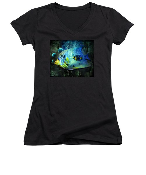 Aqua Fantasy Art World Women's V-Neck (Athletic Fit)