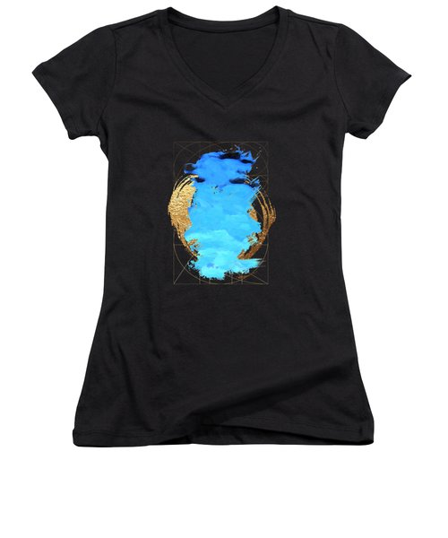 Aqua Gold No. 1 Women's V-Neck T-Shirt (Junior Cut) by Serge Averbukh