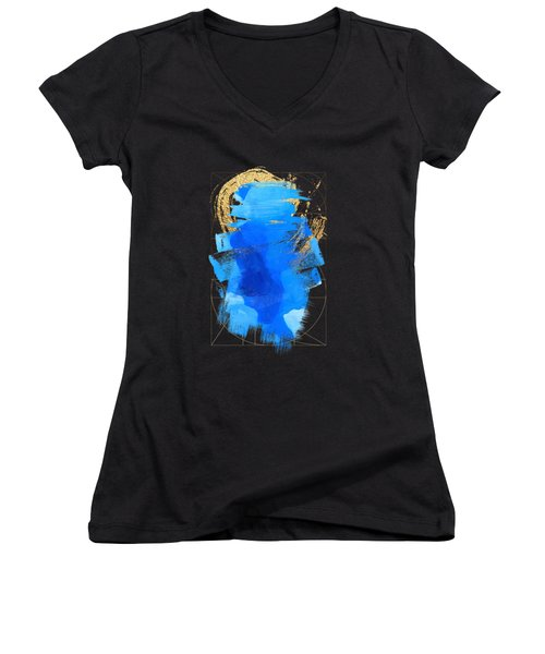 Women's V-Neck T-Shirt (Junior Cut) featuring the digital art Aqua Gold No. 3 by Serge Averbukh