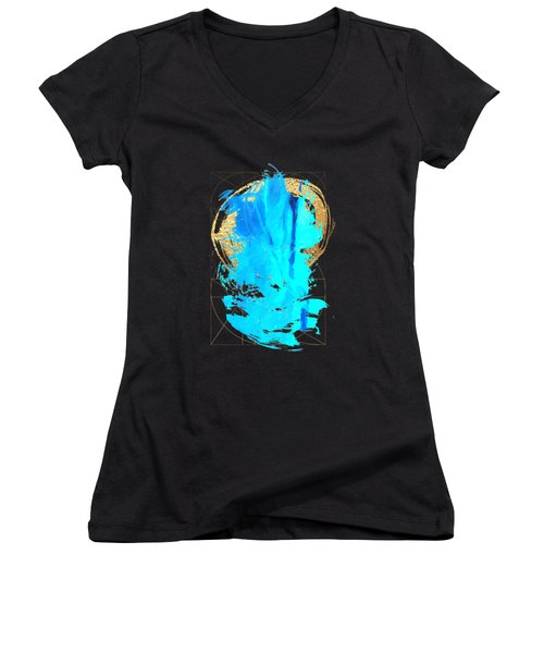 Women's V-Neck T-Shirt (Junior Cut) featuring the digital art Aqua Gold No. 4 by Serge Averbukh