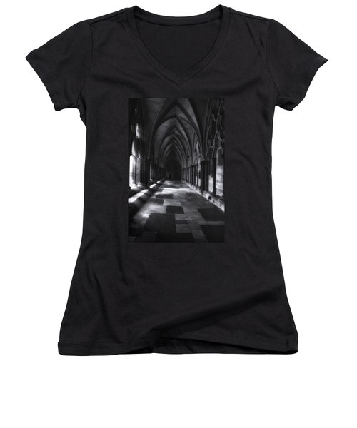 Women's V-Neck T-Shirt (Junior Cut) featuring the photograph Arched Corridor by Andrew Soundarajan