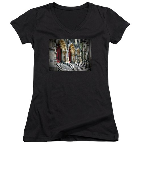 Arched Doorways Women's V-Neck T-Shirt (Junior Cut) by Brian Wallace