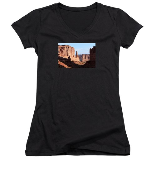 Women's V-Neck T-Shirt (Junior Cut) featuring the photograph Arches Morning by Elizabeth Sullivan