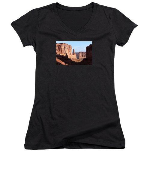 Arches Morning Women's V-Neck T-Shirt (Junior Cut) by Elizabeth Sullivan