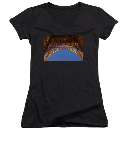 Women's V-Neck T-Shirt (Junior Cut) featuring the photograph Arches Of The Eiffel Tower by Andrew Soundarajan