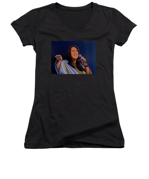 Aretha Franklin Painting Women's V-Neck T-Shirt (Junior Cut) by Paul Meijering