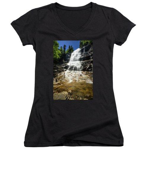 Women's V-Neck T-Shirt (Junior Cut) featuring the photograph Arethusa Falls by Robert Clifford