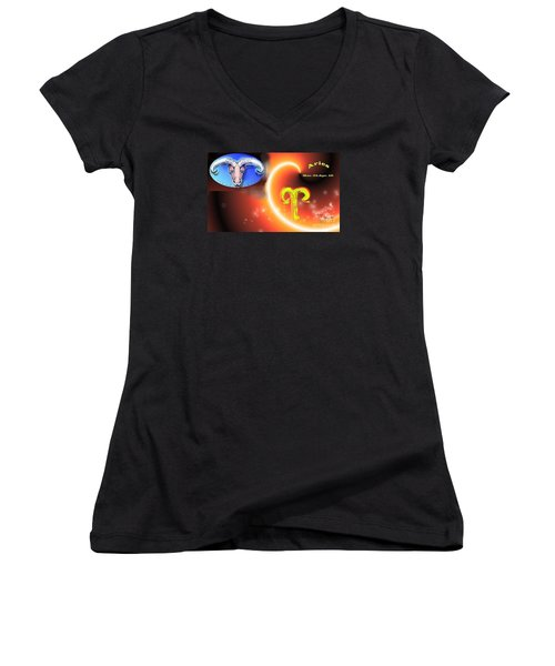 Women's V-Neck T-Shirt (Junior Cut) featuring the painting Aries by The Art of Alice Terrill