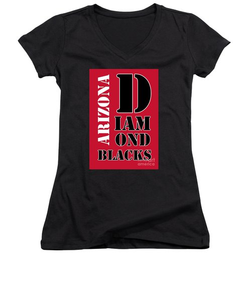 Arizona Diamondbacks Baseball Typography Red Women's V-Neck T-Shirt