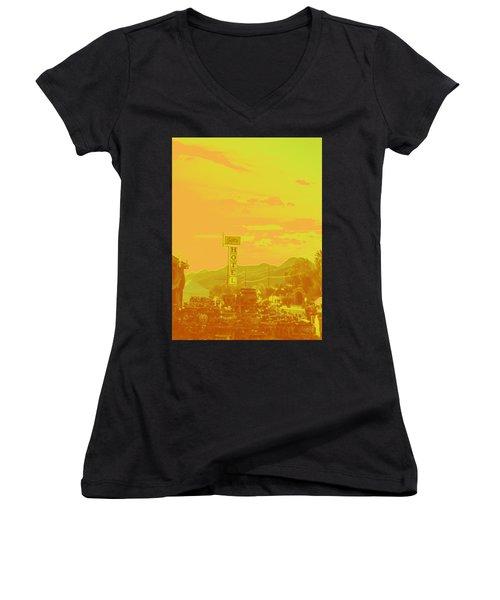 Women's V-Neck T-Shirt (Junior Cut) featuring the photograph Arizona Road I by Carolina Liechtenstein