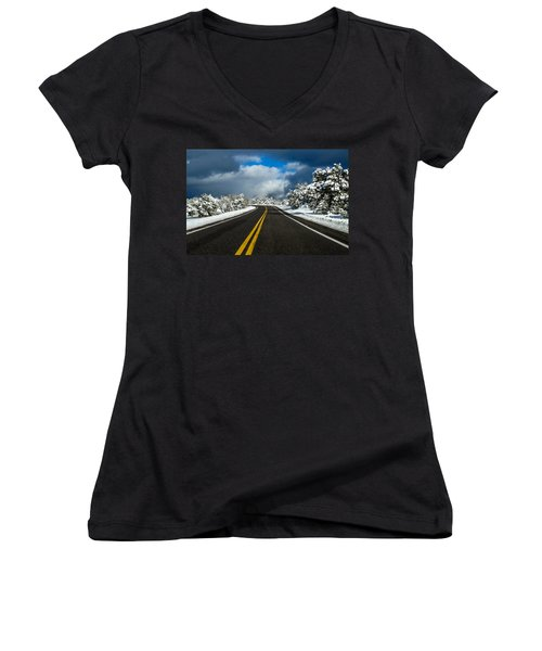 Arizona Snow Road Women's V-Neck (Athletic Fit)