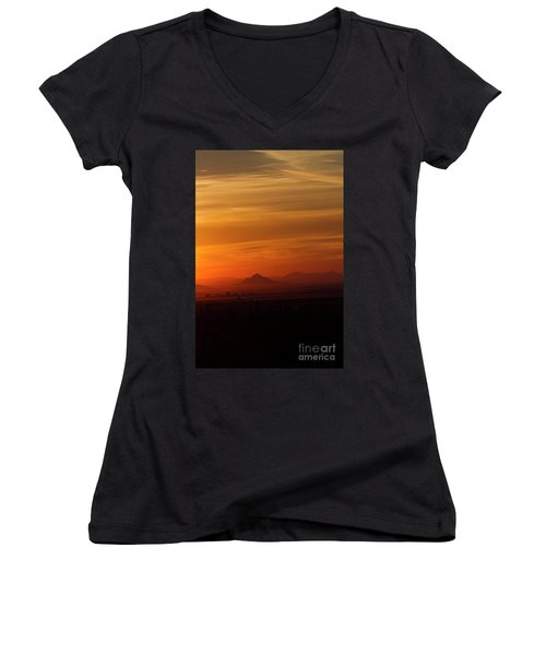 Women's V-Neck T-Shirt (Junior Cut) featuring the photograph Arizona Sunrise by Anne Rodkin