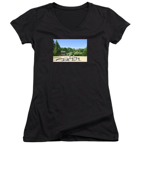 Women's V-Neck T-Shirt (Junior Cut) featuring the photograph Armistice Clearing In Compiegne by Travel Pics