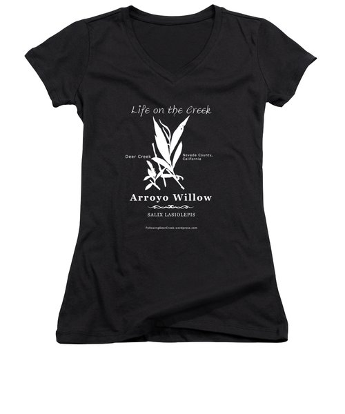 Arroyo Willow - White Text Women's V-Neck (Athletic Fit)