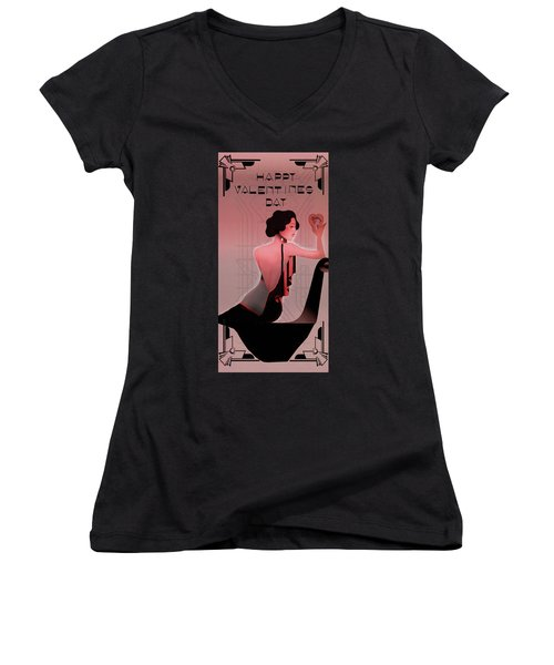 Women's V-Neck T-Shirt (Junior Cut) featuring the digital art Art Deco Valentine Greeting by Jeff Burgess
