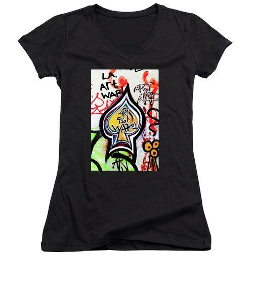 Women's V-Neck T-Shirt (Junior Cut) featuring the photograph Art Is War by Art Block Collections