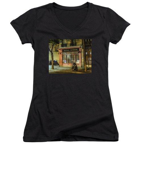 Women's V-Neck T-Shirt (Junior Cut) featuring the photograph Artisan Patissier Montmartre Paris by Sally Ross