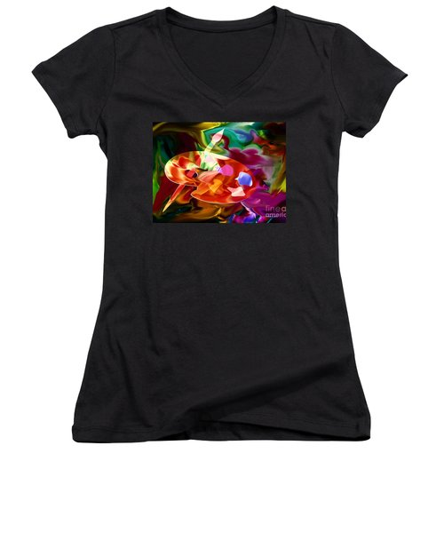 Artist Palette In Neon Colors Women's V-Neck T-Shirt (Junior Cut)