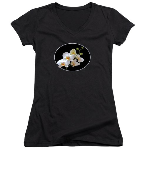 White Orchids On Black Women's V-Neck T-Shirt (Junior Cut) by Gill Billington