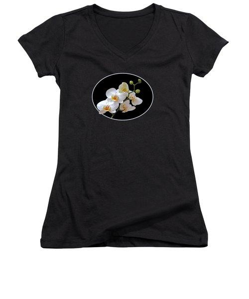 White Orchids On Black Women's V-Neck T-Shirt